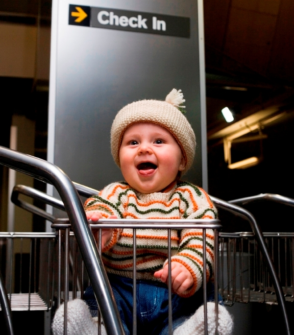 baby at check-in