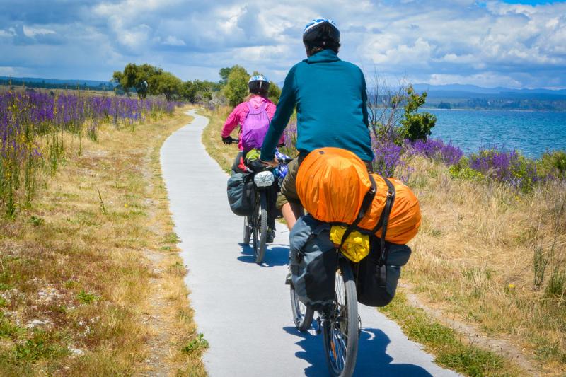 Bike riding along Lake Taupo