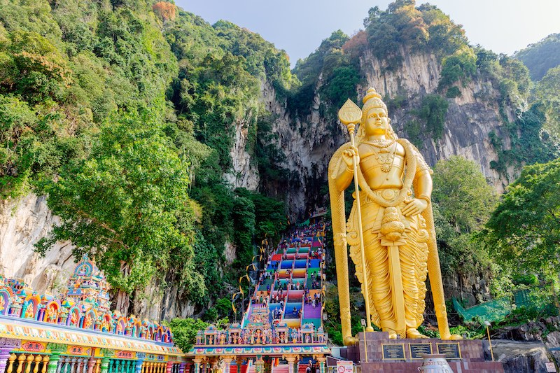 The Batu Caves are around half an hour by train from downtown