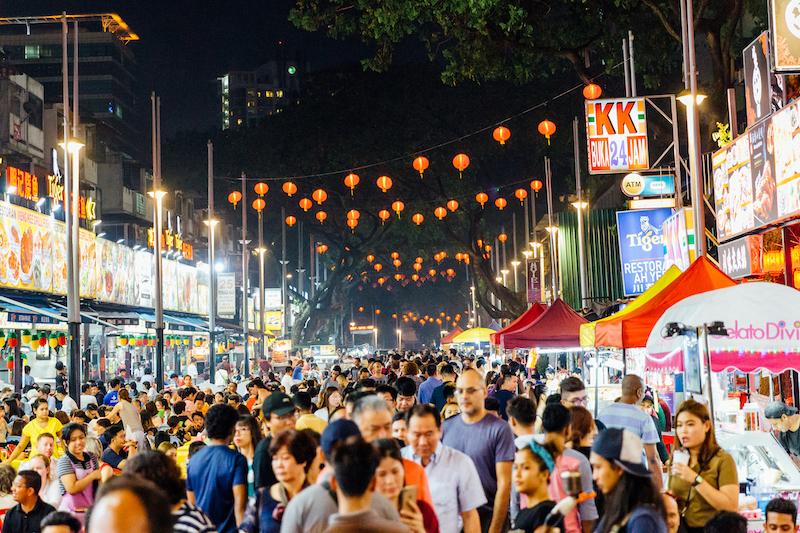 Kuala Lumpur's Chinatown at night.