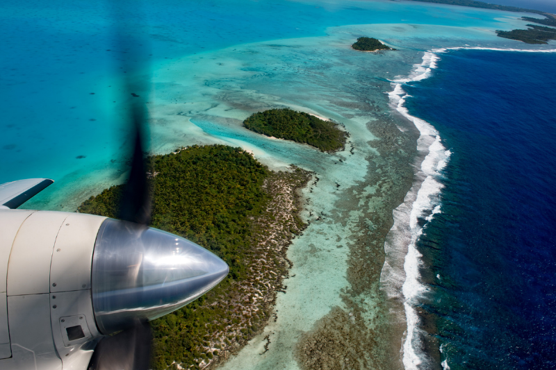 Aerial panorama view of the Cook Islands