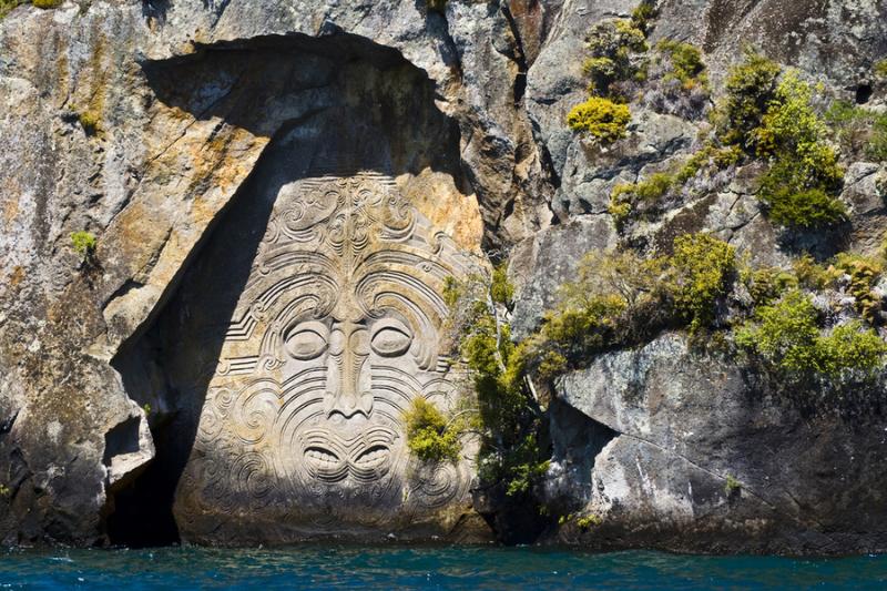 Maori rock carvings in Ngatoroirangi Mine Bay