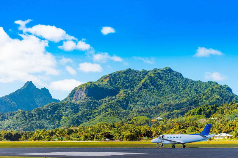 A plane at Aitutaki Island, Cook Islands airport