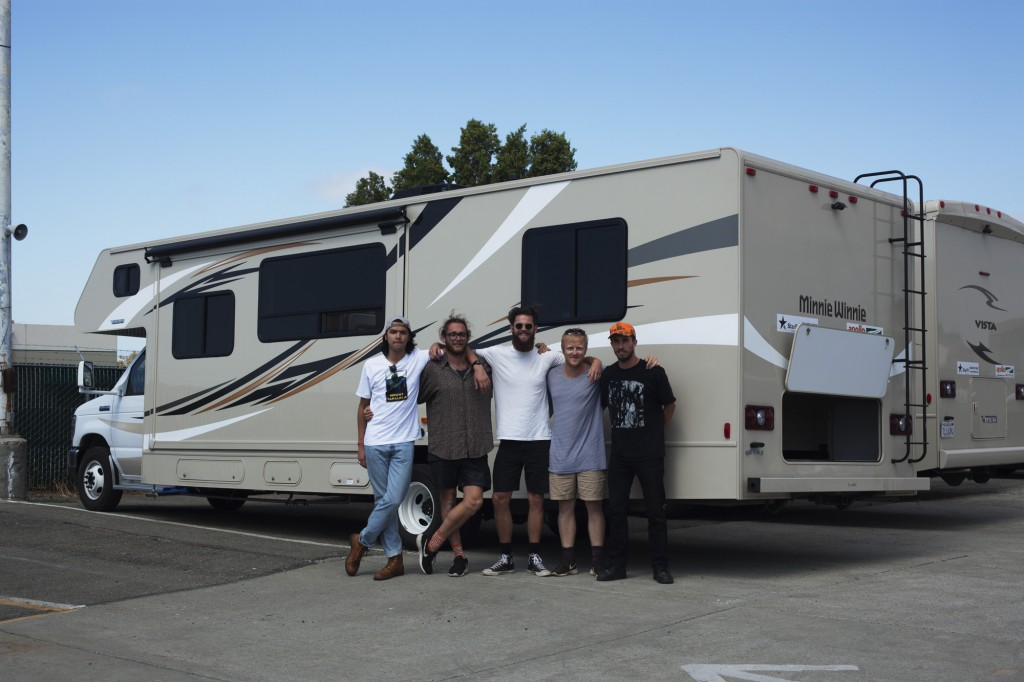 The boys with their RV, left to right: Tim, Gus, Jonny, Ham and Henry. Credit: Tim Lambourne.
