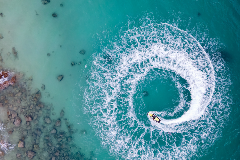 Jet skier on the crystal-clear waters of the Gold Coast