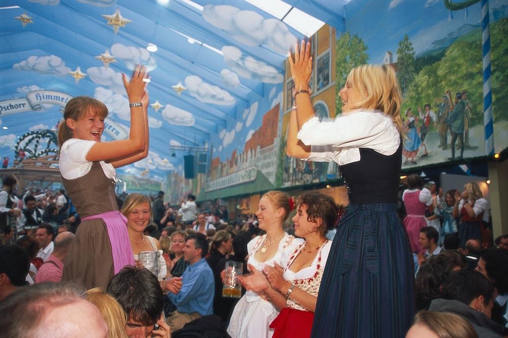 Hacker Festzelt tent, Munich Oktoberfest. Photo: GNTB/Rainer Kiedrowski.