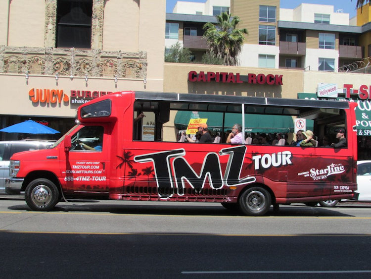 The TMZ tour of Hollywood. Credit: Glen Bowman/Flickr.com.