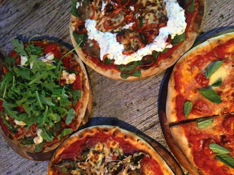 Pizzas at Arcobaleno, Rainbow Beach. Credit: Delaney Mes.