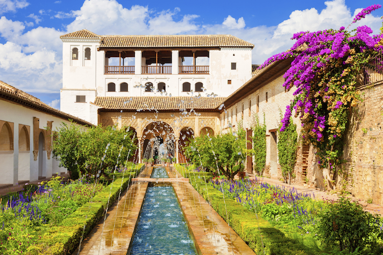 The Generalife gardens at the Alhambra palace, Grenada. Credit: iStock.com.