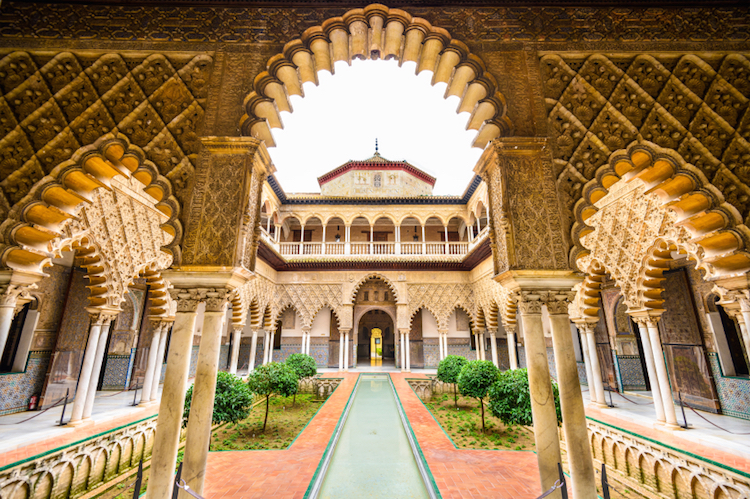 The Courtyard of the Maidens at the Alcazar, Seville. Credit: iStock.com.