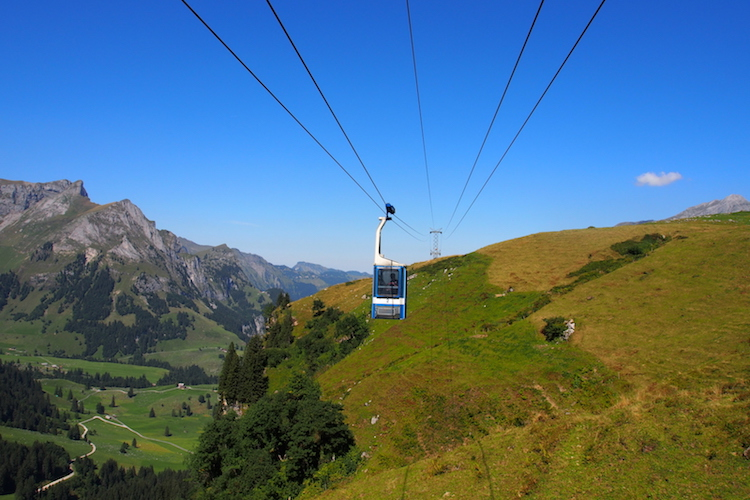 A cable car ascends Mt Titlis, Switzerland. Credit: Alexia Santamaria.