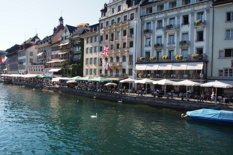 Buildings line the River Ruess, Lucerne. Credit: Alexia Santamaria.