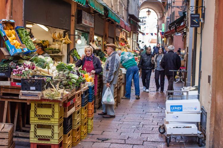 """Grocery stalls in the \""""Quadrilatero"""" area of Bologna. Photo: iStock.com."""