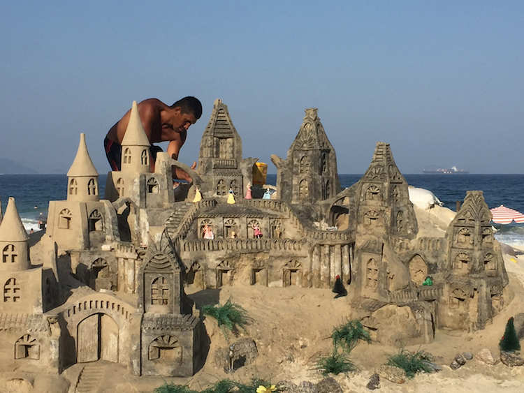 Sand castles on steroids, Copacabana Beach. Photo: Laura McQuillan.