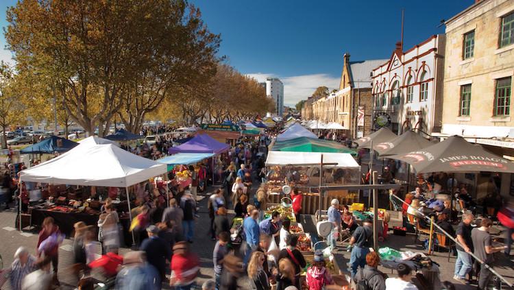 Salamanca Market, Hobart. Credit: tourismtasmania.com.au
