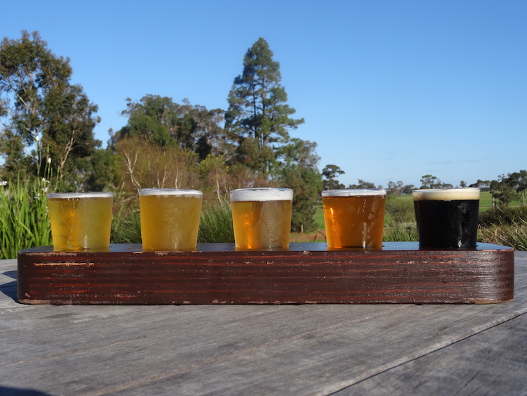 Tasting paddle at Cowaramup Brewing. Photo: Brett Atkinson