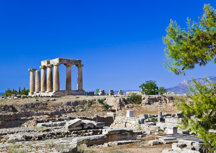 Temple ruins at Corinth in the Peloponnese. Credit: iStock.com