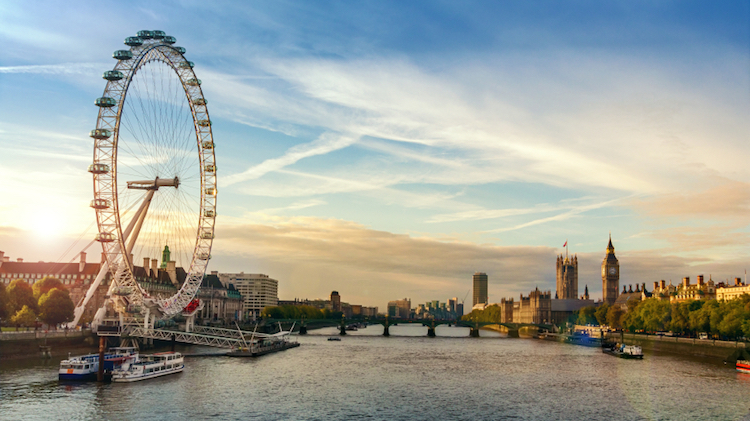The River Thames, including the London Eye, Westminster Bridge, the Houses of Parliament and Big Ben. Credit: iStock.com