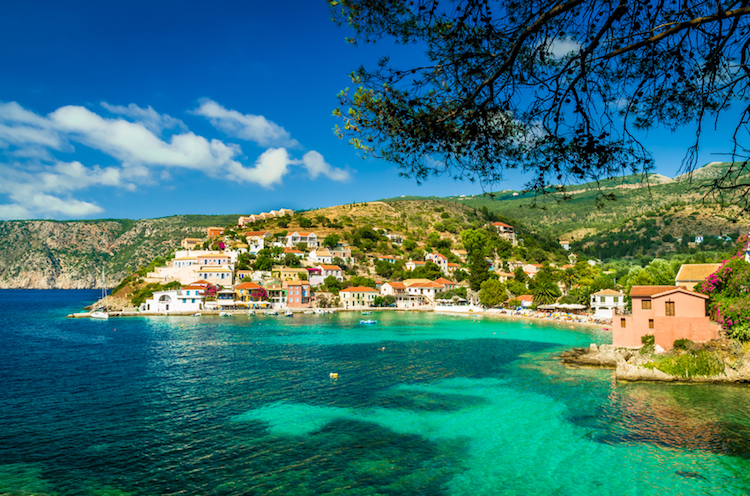 The town of Assos in Cephalonia, Greece.