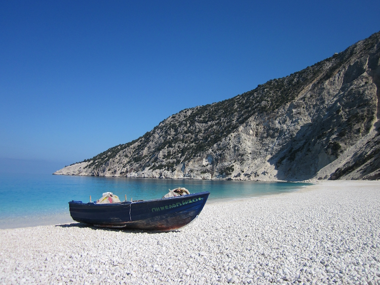 Outside of summer, the popular Myrtos Beach is a gentler place. Photo: Diana Noonan