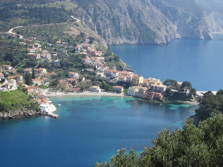 The village of Assos is anchored to its adjacent Venetian fortress by a short isthmus. Photo: Diana Noonan