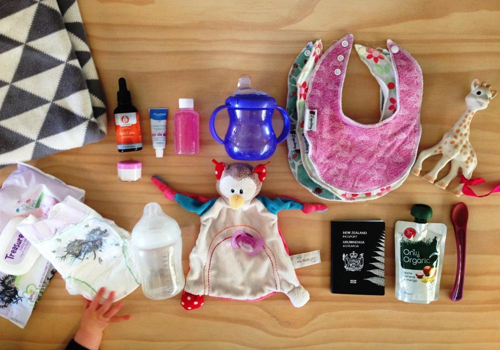 Baby flying essentials. Photo: Sarah Thompson.