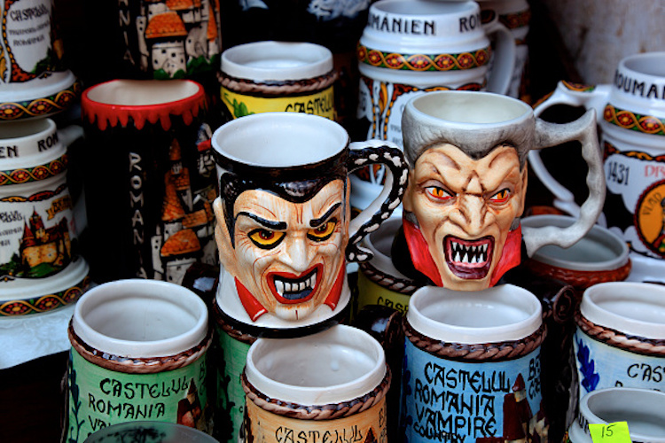 Souvenirs at Bran Castle, Bran, Dracula, Brasov County, Transylvania, Romania (Photo by: Bildagentur-online/UIG via Getty Images)