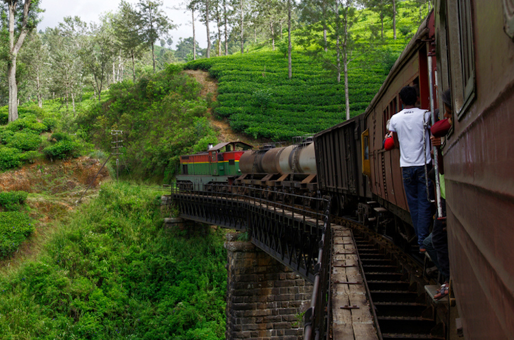 A train on its way to Ella, Sri Lanka. Photo: Tomas Zrna / Getty Images