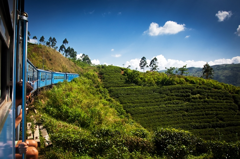 Train from Nuwara Eliya to Kandy among tea plantations. Photo: Shutterstock