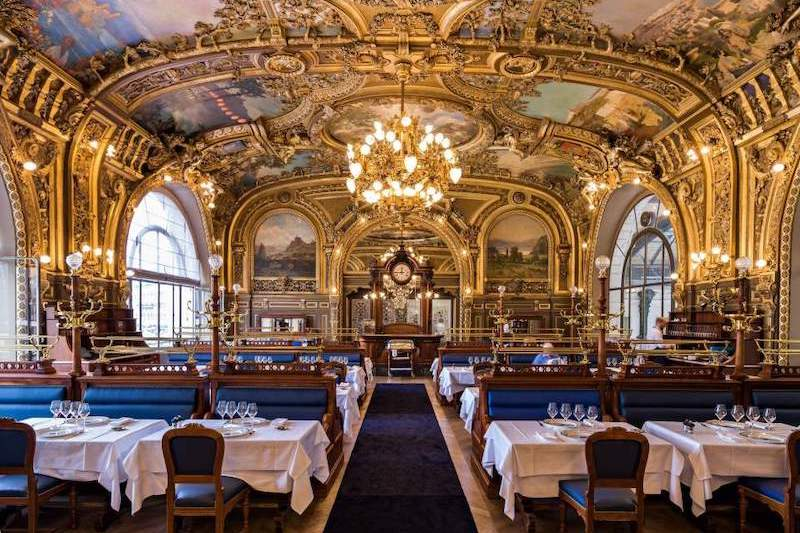 The interior of Le Train Bleu restaurant inside Gare de Lyon, Paris