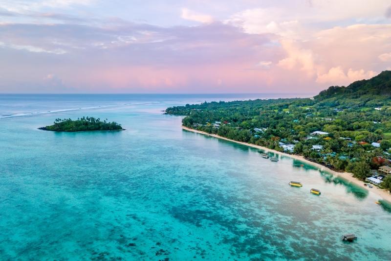 Beachfront in Rarotonga, Cook Islands.