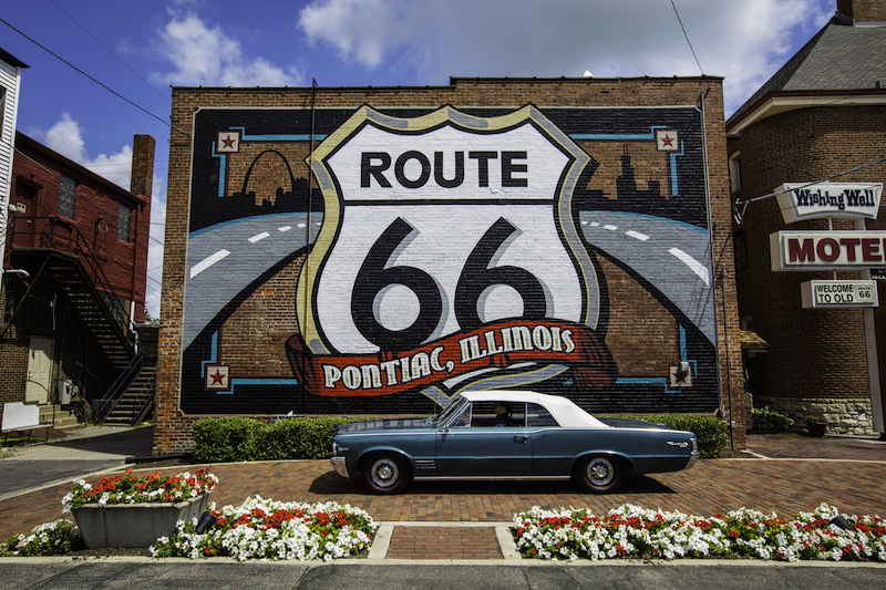 The Route 66 mural in downtown Pontiac
