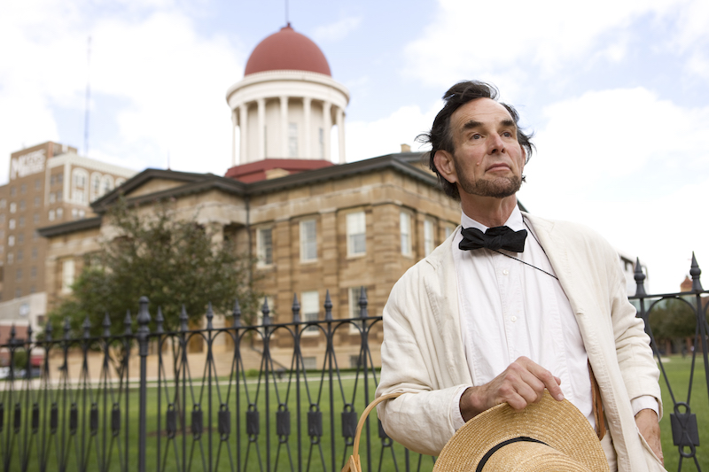 A Lincoln re-enactor outside the Old State Capitol, where the future president once worked