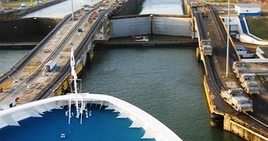 Cruise ship entering the canal