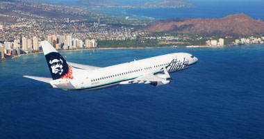 Alaska Airlines flight over Hawaii