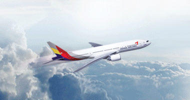 Asiana Airlines in the sky