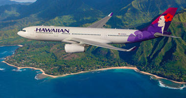 Flying over the Hawaiian islands