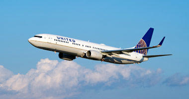 United Airlines in the sky