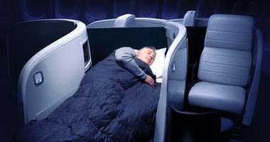 Air New Zealand lie-flat bed