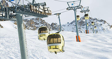Gondolas Ascending La Saulire Slope