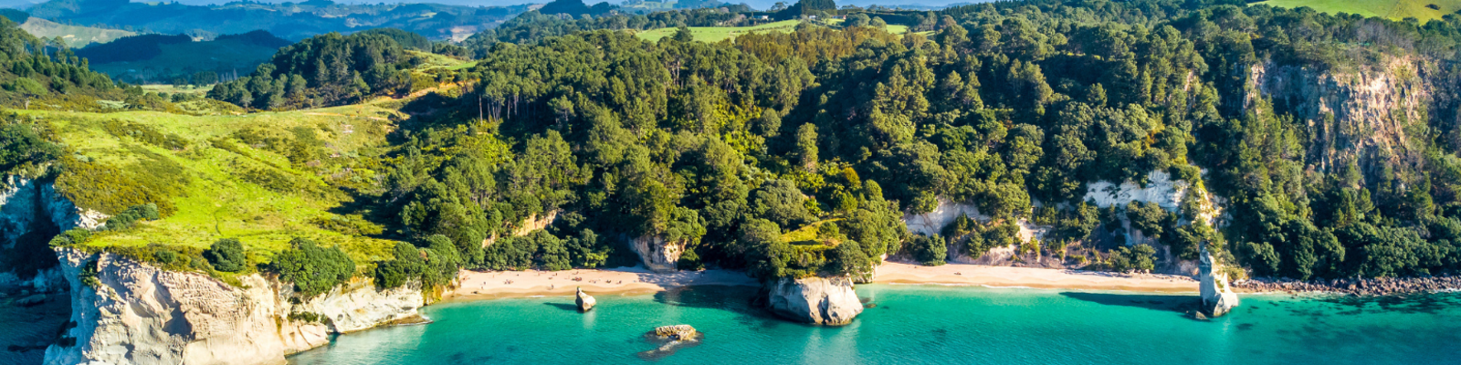 Aerial view of Cathedral Cove and surrounding bays