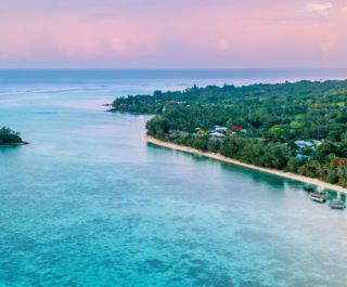 Aerial view of Muri Lagoon at sunset in Rarotonga