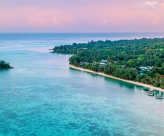 Aerial view of Muri Lagoon at sunset in Rarotonga