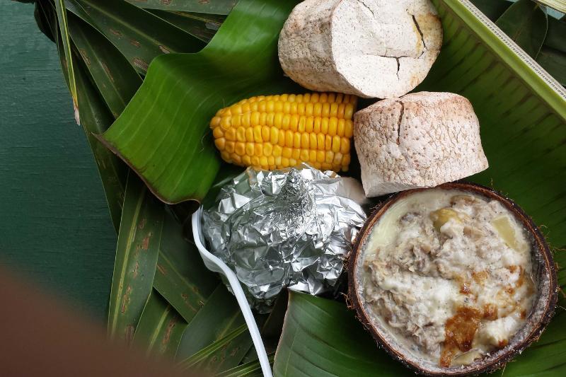 Traditional Samoan food from an umu