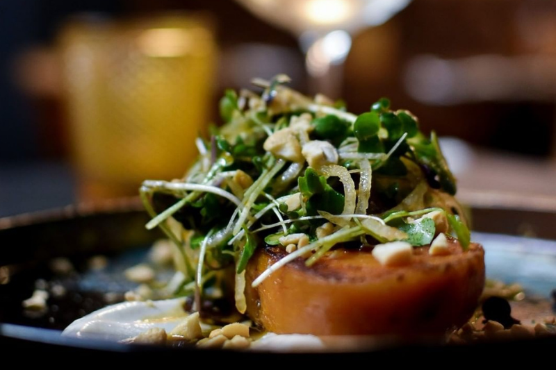 Pan roasted kumara paired with cashews and chilli & lime salad at Vault 21