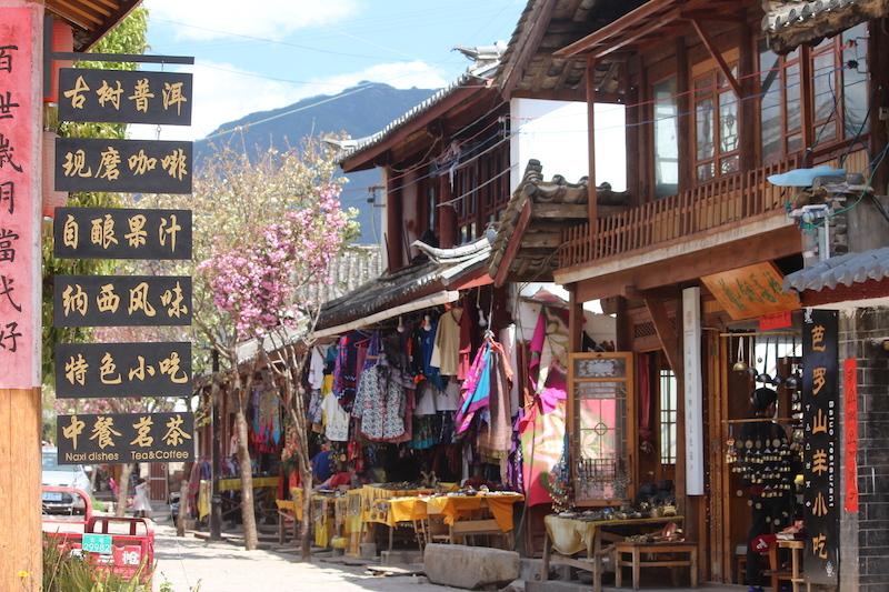 A street scene in Baisha, Yunnan province.