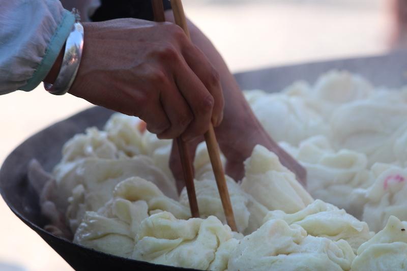 Dumplings for sale in Shaxi.