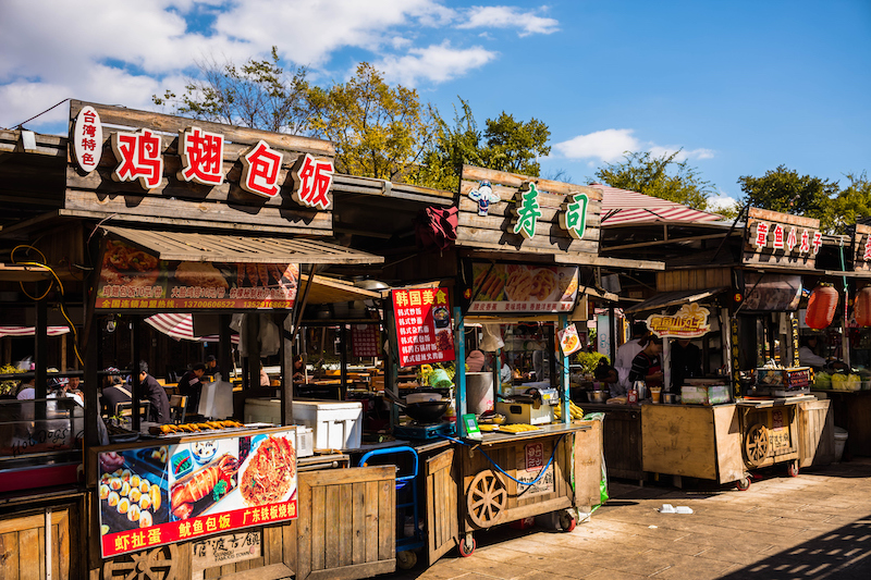Food stalls in the ancient village of Guandu, now part of Kunming city